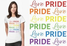 "Perfect for the Pride season, but then again, when isn't love and pride something worth celebrating? We wanted to do a completely inclusive design as ""love"" and ""pride""  isn't limited to any specific label, preference or identity. Go here to see the complete collection for this design: http://www.redbubble.com/people/t-out/works/22025782-love-and-pride-in-colors-of-the-rainbow"