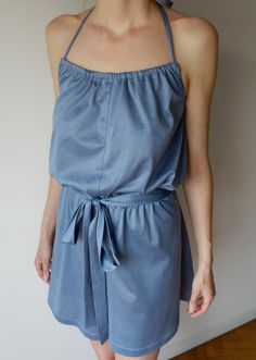 For Abby: Women's romper in lilac / blue jersey ,  halter neck and self fabric belt. Size M. $55.00, via Etsy.