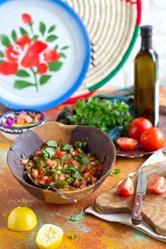 Palestinian farmer salad, one of the simplest and tastiest Middle Eastern salads Clean Recipes, Veggie Recipes, Indian Food Recipes, Salad Recipes, Healthy Recipes, Israeli Recipes, Arabic Recipes, Veggie Food, Rice Recipes
