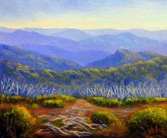 Original Australian landscape painting by Chris Vidal of the Victorian Alps Mount Hotham