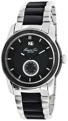 Kenneth Cole Men's Leather Wrapped KC9123 Silver Stainless-Steel Quartz Watch #tarazz #watch