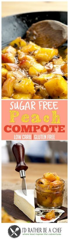 You'll never miss the sugar in my delicious Peach Compote recipe. It's so simple and mouth watering. Keto Friendly Desserts, Low Carb Desserts, Low Carb Recipes, Healthy Recipes, Peach Compote, Fruit Compote, Low Carb Lunch, Low Carb Breakfast, Breakfast Recipes