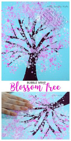 Arty Crafty Kids Art Spring Crafts for Kids Bubble Wrap Spring Blossom Tree A gorgeous spring craft for kids who love to explore the changing seasons. A simple idea that's perfect for your toddler or preschooler. Spring Art Projects, Spring Crafts For Kids, Projects For Kids, Art For Kids, Spring Crafts For Preschoolers, Simple Crafts For Kids, Craft Projects, Art Children, Spring Activities