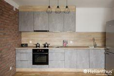 Znalezione obrazy dla zapytania szare meble kuchenne z drewnianym blatem