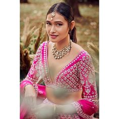 Blouse with zardosi and sequins work Netted Blouse Designs, Blouse Designs High Neck, Simple Blouse Designs, Stylish Blouse Design, Bridal Blouse Designs, Lehenga Skirt, Pink Lehenga, Bridal Lehenga, Off Shoulder Fashion