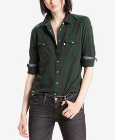 Levi's Cotton Tailored Western Shirt - Green XL