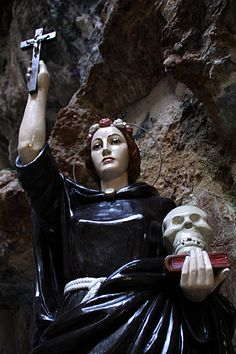 Santa Rosalia #Paermo #Sicily. 12th century noblewoman who eschewed the luxuries of privileged life to become a hermit. she lived alone in a cave worshiping the glory of God, and died unknown. Her namedid not become known until 1624, 450 years after her death, when the plague threatened to wipe out Palermo. Her spirit appeared to a few villagers, revealed the location of her bones, and suggested that these be paraded about town. Palermo was spared.