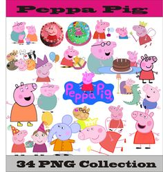 Peppa Pig Collection PNG Vector Instant Download Disney Clipart Digital Albums Magnet Collage Greeting Sticker Printable Party Items by SlavGraphics on Etsy