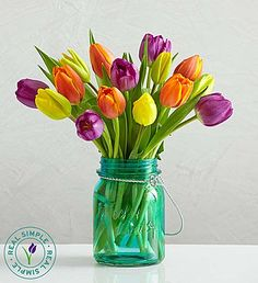 Assorted Tulips with Mason Jar by Real Simple®