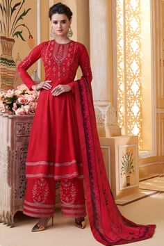 Party Wear Red and Maroon color Salwar Kameez in Muslin fabric with Palazzo Embroidered, Resham, Thread work : 1608922 Pakistani Suits, Salwar Suits, Salwar Kameez, Kurti, Palazzo Suit, Palazzo Style, Bridal Lehenga Choli, Red Party, Silk Dupatta