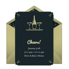 Customizable, free Champagne for Two online invitations. Easy to personalize and send for a party. #punchbowl
