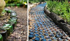 Old bottles repurposed into a garden path
