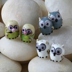 Cute Glass Owl Beads Animal Beads Craft by funkyprettybeads