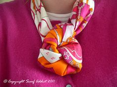 """Reader Pamela requested a """"How To"""" recently for the Berlin Knot so here you go Pamela! The Berlin Knot with my Tours des Cles  . Ways To Wear A Scarf, How To Wear Scarves, Scarf Knots, Scarf Tutorial, Scarf Jewelry, Neck Scarves, Tie Scarves, Square Scarf, Scarf Styles"""