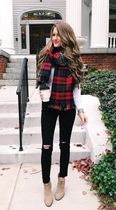 A plaid scarf makes an ordinary jeans and booties look festive for Christmas day!