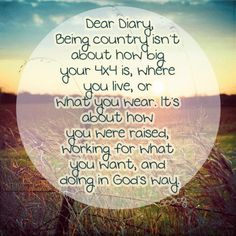 I might not live on a farm, or be from Tennessee, but that don't mean i aint got country in me<3