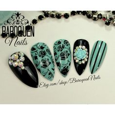 "Mint Rose Acrylic Nails Crystal Accent Nail Art ""Seaflower"" Made To... (760 CZK) ❤ liked on Polyvore featuring beauty products, nail care, nail treatments and gel nail care"