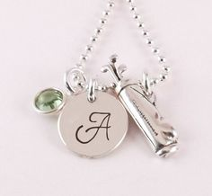 Personalized Initial Golf Charm Necklace, Golf Mom Necklace with Sterling Silver Golf Bag Charm and Swarovski Elements Crystal Birthstone on Etsy, $40.00