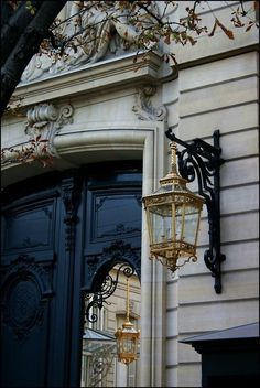 Paris architecture details. The entrance of the Palais de l'Élysée, the French President's residence, in Paris.