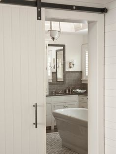 Sliding Barn Door - Contemporary - bathroom - Shelter Interiors LLC