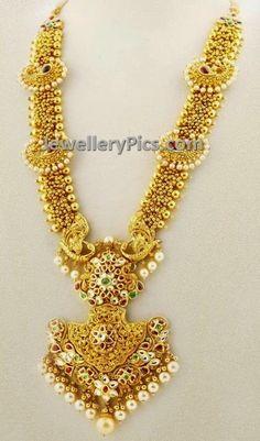 Beautifully designed tiny beaded gold haram - Latest Jewellery Designs