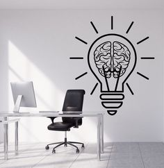 Details about Vinyl Wall Decal Bulb Idea Brain Motivation De.- Details about Vinyl Wall Decal Bulb Idea Brain Motivation Decor For Office Stickers - Office Wall Design, Office Wall Decals, Office Walls, Vinyl Wall Decals, Office Mural, Wall Stickers, Creative Office Decor, Creative Kids Rooms, Iq Puzzle