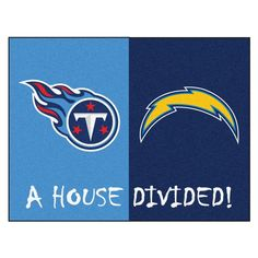 NFL Chargers/Titans Blue House Divided 2 ft. 10 in. x 3 ft. 9 in. Accent Rug, Blue/Blue