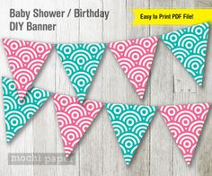 Pink and Teal Banner  in Japanese Wave Pattern by MochiPaperShop, $4.50