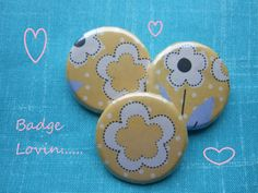 Badges made using vintage inspired papers - www.theblueberrypatch.co.uk