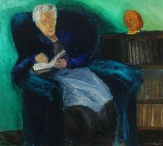 Interior with the artist's mother in a chair by Jens Andersen Sondergaard