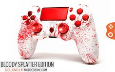 """Our new release """"Bloody Splatter"""" PS4 CUSTOM MODDED CONTROLLER. Amazing design, custom mixed paints and crystal finishes. The rich graphics and the overall cosmetic manufacturing happens in the house! Customize your own today at www.moddedzone.com"""