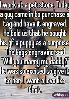 Someone from posted a whisper, which reads I work at a pet store Today a guy came in to purchase a tag and have it engraved He told us that he bought his gf a puppy as a surprise The tags engraving said Will you marry my daddy He was so excit - h Cute Love Stories, Sweet Stories, Funny Stories, Cute Couple Stories, Cute Relationship Goals, Cute Relationships, Relationship Problems, Whisper Quotes, Whisper Confessions