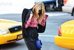 blue clutch & blouse