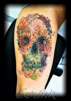 Flowers/skull tattoo