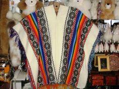 Reich bestickter #original #Poncho aus #Peru, #Alpakawolle