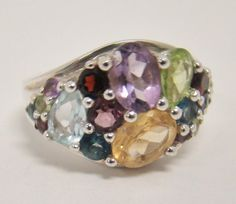 925 STERLING SILVER RING SIZE 6.5 CLUSTER PERIDOT TOPAZ AMETHYST CITRINE GARNET #Cluster