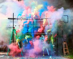'colorful smoke bombs' by olaf breuning.