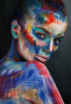 Ph,Retouch: Oxana Gernet MUA: Maria Moilanen, Olga Zhuravleva Model: Luba – Hobbies paining body for kids and adult Gif Kunst, Maquillage Normal, Circus Makeup, Fantasy Make Up, Make Up Art, Doll Painting, Body Makeup, Eye Makeup, Art Abstrait