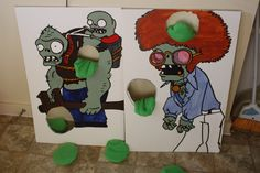 Plants vs Zombies Pea Toss Zombie Birthday Parties, Leo Birthday, Zombie Party, Birthday Ideas, P Vs Z, Minecraft Party, Halloween Games, Baby Party, Party Time