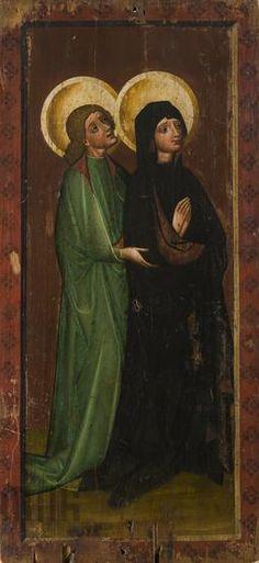 Matka Boska i św. Jan ze sceny Ukrzyżowania. Skrzydło retabulum ołtarzowego z Chełmiec, ok. 1440