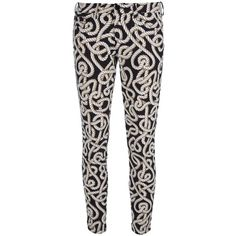 LOVE MOSCHINO rope print skinny trouser ($367) found on Polyvore