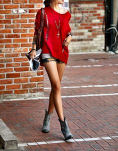 Red shirt distressed jean short cut offs black boots