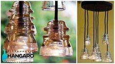 Diseño de lámparas con aislantes antiguos de postes electricos. #Hangaro #Guatemala #CreacionChapina #Vidrio
