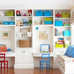 White built ins with colorful chairs and accessories