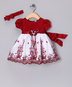 Take a look at this Shanil Red & White Paisley Dress & Headband - Infant on zulily today!
