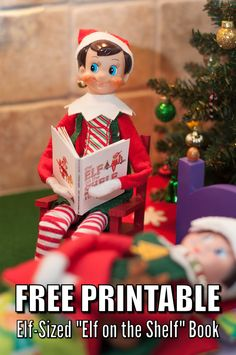 "Elf-sized ""Elf on the Shelf"" book for your elf or Barbies. #ElfOnTheShelf #amywelsh18"