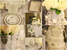 Old Southern Wedding, ivory, hydrangeas, mint julep cups, white roses, vintage flatware
