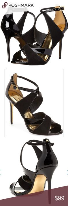 """Ted Baker Albace heels stiletto black open sandals Ted Baker Albace heel stilettos ✨ stunning shoes ✨ strappy black leather + patent, open toe 4"""" heels ✨ leather gold lining inside & leather sole ✨ adjustable ankle buckle strap ✨ padding on footbed for comfort ✨ available in size  9 / 40 or 10 / 41 Ted Baker London Shoes Heels"""