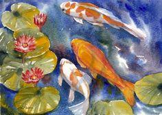 Zeh Original Art Blog Watercolor and Oil Paintings: Koi Fish in a ... Watercolor Fish, Watercolor Flowers, Watercolor Paintings, Oil Paintings, Koi Art, Fish Art, Pond Painting, Lily Pond, Art Blog
