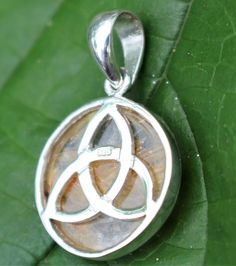 Celtic Triquetra Pendant 19mm AAA Rutilated Quartz and Sterling Silver Riversible
